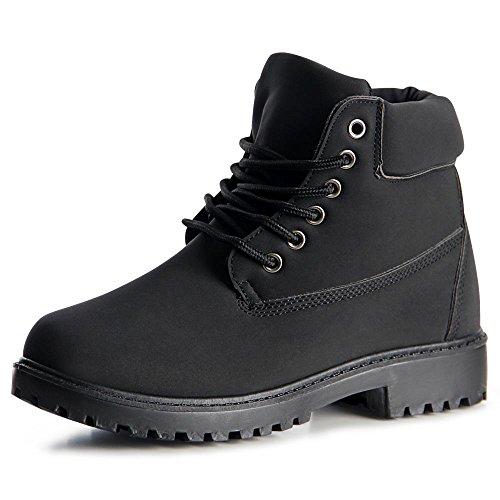 topschuhe24 1033 Damen Stiefeletten Worker Boots Schwarz