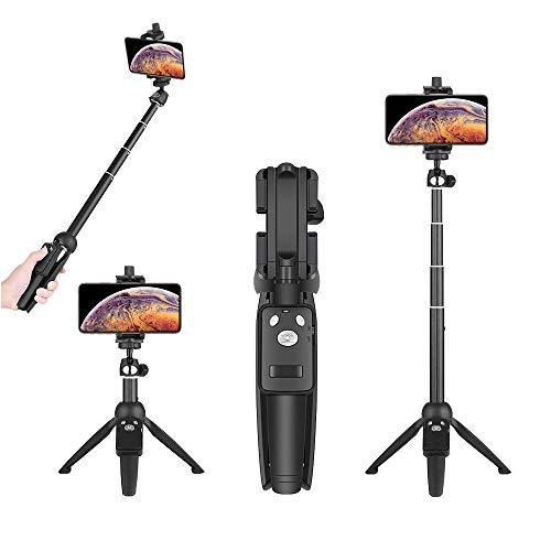 Wevon Selfie Stick Stativ mit Fernbedienung, Wireless Selfie-Stange Stab 360° Rotation für iPhone Xs Max Xr X 8 7 Plus 6 S6 Android/Smsang Galaxy Note 8 S8 SONY/GoPro bis zu 100 cm Verlängerbar