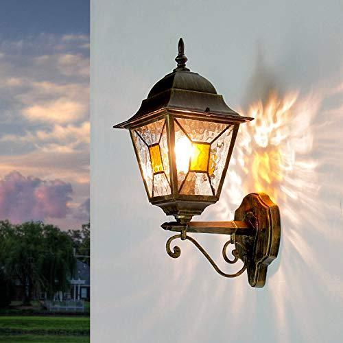 Antike XXL Außenleuchte Wandlampe H:42cm Gold Antik Glas Tiffany Stil E27 Gartenlampe Balkon Terrasse
