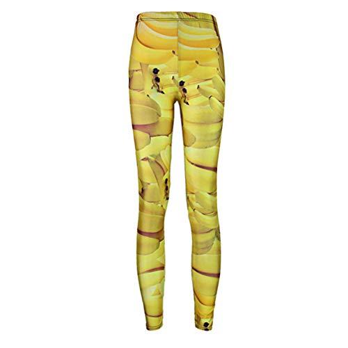 Pantaloni sportivi con stampa push up fitness stampati in 3d donna fruit banana plus size pantaloni a vita alta punk rock gold xxxl