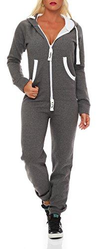 Damen Jumpsuit Jogger Jogging Anzug Trainingsanzug Einteiler Overall 9t5 dunkelgrau S