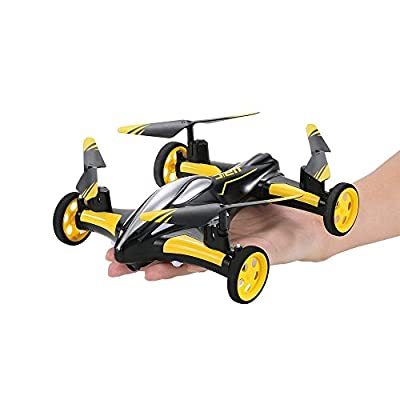 SZJJX Air-Ground RC Drone 6-Axis Gyro Flying Car 2.4Ghz 4CH Land/Sky 2 Modes Quadcopter 2 in 1 Toy