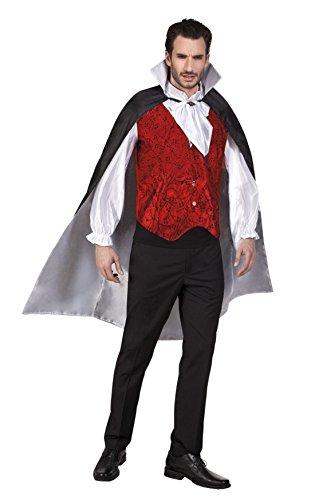 Fancy Ole - Herren Männer Kostüm Vampir Umhang, 120cm, Mehrfarbig, Größe One Size