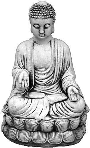 gartendekoparadies.de Wunderschöner Stein Buddha kniend Mönch aus Steinguss, frostfest