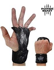 Power Beast Calleras Crossfit | 2 en 1 Guantes Sin Dedos y Muñequeras | Pesas,