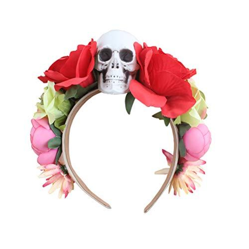 tirnband Schädel Künstliche Blume Haarband für Halloween Karneval Scary Theme Party Cosplay Kostüm (Rot) ()