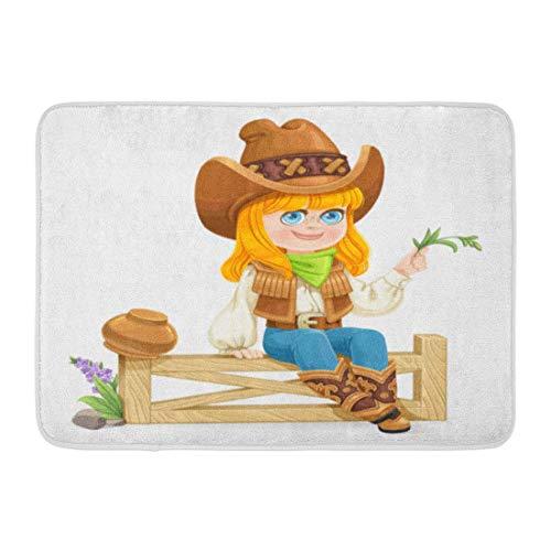 Clevere Kostüm Mädchen - Rongpona Fußmatten Bad Teppiche Outdoor/Indoor Fußmatte Grün Entzückende süße Mädchen in Cowboy-Kostüm sitzt auf Zaun Schönheit Cartoon Badezimmer Dekor Teppich Badematte