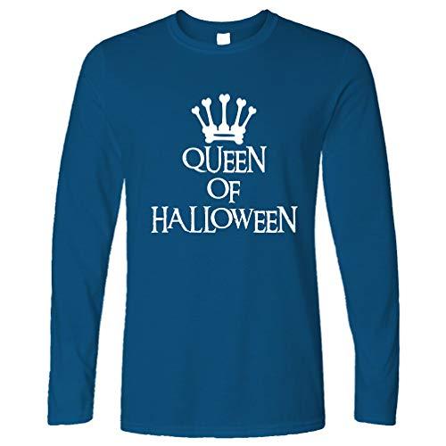 Tim And Ted Neuheit Spooky Langarmshirt Queen of Halloween Crown Royal Blue ()
