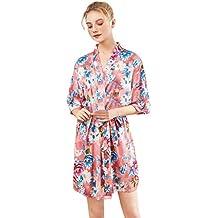 DEELIN Las Mujeres Elegantes Pijama De Satén Sexy ImpresióN Nightgown Vestido De Noche De ...