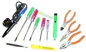 Maplin 14 Part Electronics Tool Kit Soldering Iron Solder Desoldering Pump Plier