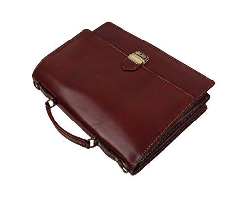 "SLINGBAG ""Martin"" Aktentasche / Businesstasche / Aktenkoffer / Notebooktasche aus hochwertigem Leder / Farbauswahl (Braun) Braun"