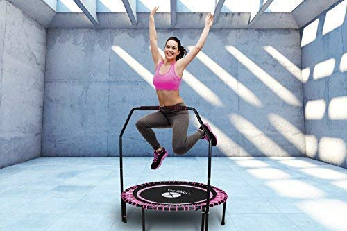 Miweba JUMPNESS Fitness Trampolin Round 40\'\' Double Handle inklusive Pad 100cm Minitrampolin Workout