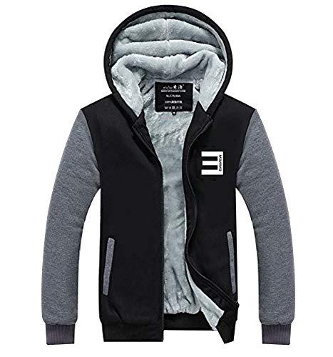 Eminem Slim Shady Kostüm - Wellgift Herren Winter Jacke Kapuzenpullover Zipper Hoodie Cosplay Plus Samt Dicke Sweatshirt Kostüm für ErwachseneDamen Kleidung Mantel