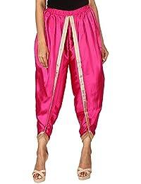 Khazana Basics Satin Silk Dhoti Pant for Women (Pink, JTDH7103_XL, X-Large)
