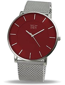 Davis 0912MB - Herren Damen Design Uhr Gehäuse Extraflach Ziffernblatt Rot Mesh Armband