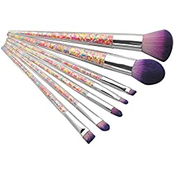 Berimaterry ❤️ Jeu De Pinceaux De Maquillage Professionnel 7 PièCes De Granules en Plastique ColoréEs PoignéE Transparente Jeu De Pinceaux De Maquillage
