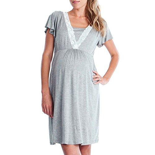 Topgrowth camicie da notte premaman abito per allattamento vestito donna casual madre pigiama camicia da notte (grigio, l)