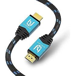Ultra HDTV Premium 4K Câble HDMI 10 mètres - 4K en 60Hz (Pas de coupures), HDR, 3D, Arc I TV, Blu-Ray Player, PS4, Xbox