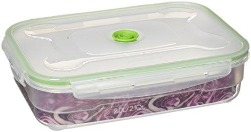 Foto de Vacuumsaver Tupper al Vacío Rectangular, Plástico, Transparente y Verde, 19.7x7x27.3 cm