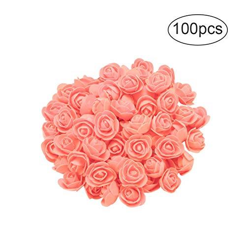 Romantische Rose Peach (Smartcoco Rose Teddybär, für Immer erhaltene Rosen, künstliche Blumen, Teddybär, Ewige Blumen, kreatives Geschenk für Valentinstag, Jahrestag, Hochzeit, Geburtstag 100PCS Peach pink)