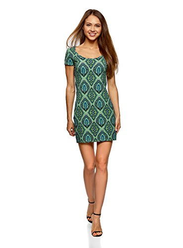 oodji Ultra Damen Enges Jersey-Kleid, Grün, DE 42 / EU 44 / XL Grüne Mini-kleid