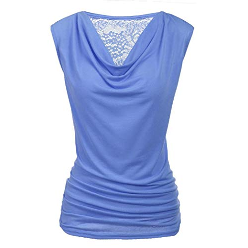 Luckycat Damen Lace Splice Tank Tops Ruched Sleeveless T-Shirts Ladies Blouse Vest Mode 2018 -