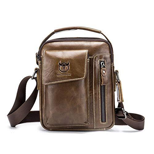 FOONEE Umhängetasche aus echtem Leder für Herren, Herren, lässige Brusttasche, Schultertasche, Reisen, Wandern, Tagesrucksack, wasserabweisend, Diebstahlschutz Chestnut Brown -