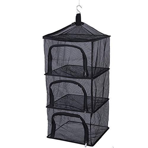 Alomejor Hängendes Trockennetz Faltbare 4 Schichten Regale Dry Rack Netz Reißverschlussöffnung für Zelt Plant Wäschetrockner -