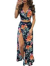 6ea9eb5138 Yujeet Mujer Vestido Flor Bohemia Conjuntos de Crop Top y Falda 2 Piezas V  Cuello Irregular