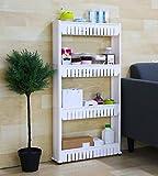 KANTHI Plastic 4 Tier Space Saving Storage Organizer Rack Shelf with Wheels (White)