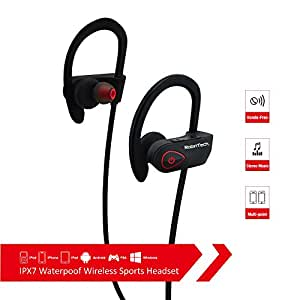 Premium Wireless Bluetooth Headphones by RobinTech In-Ear Bluetooth Sports Headset with Sweatproof and Noise-CancellationTechnology Stereo Beats Earbuds with Mic and Voice-Prompts for iPhone Android