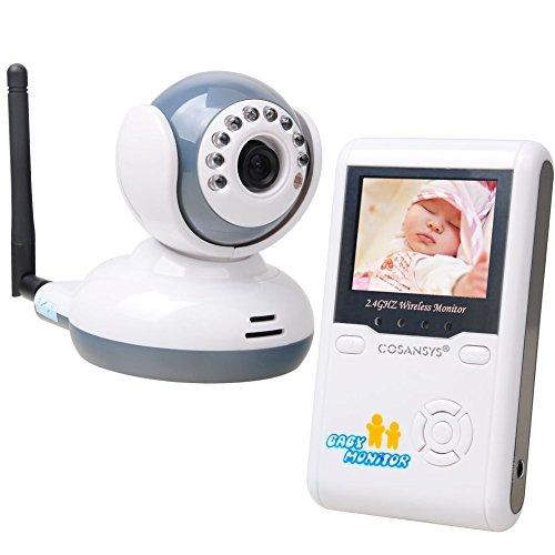 COSANSYS® Babyphone Wireless Baby Monitor Intercom telefono cellulare con fotocamera digitale a cristalli liquidi di sicurezza Baby Monitor Wireless a 2 vie conversazione 2.4''LCD 2.4G