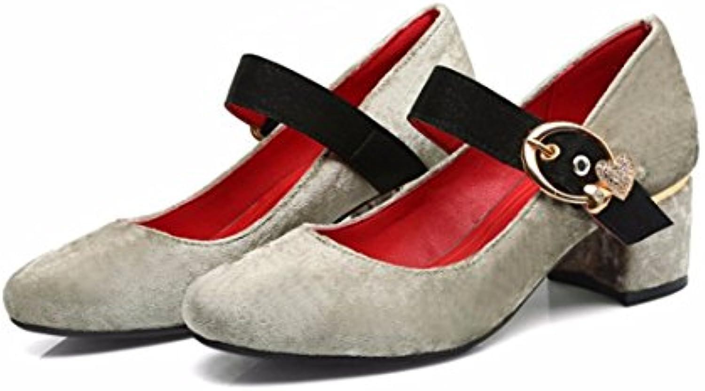 Zapatos de Tacón/Palabra Dulce Hebilla, Talón y Tacón, Zapatos de Gran Tamaño con Damas