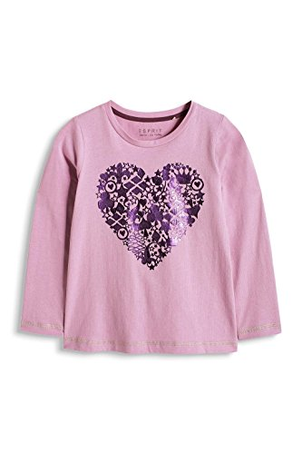 ESPRIT Mädchen, T-Shirt, 115EE7K004 Heart TS, GR. 104 (Herstellergröße:104+), Violett (lilac)