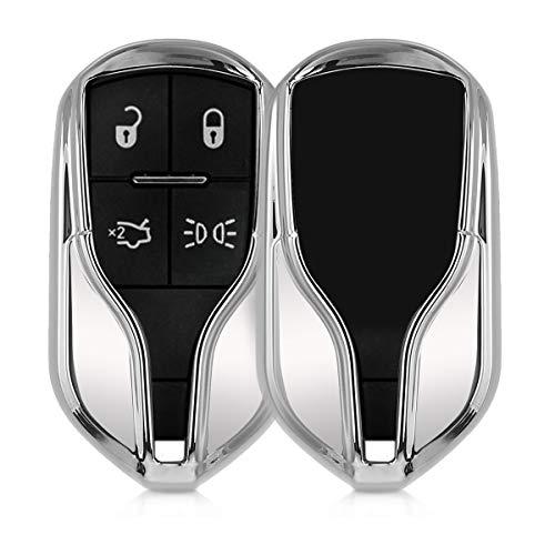 kwmobile Funda para Llave Smart Key de 4 Botones para Coche Maserati (Solamente Keyless Go) - Carcasa [Suave] de [TPU] para Llaves - Cover de Mando y Control de Auto en [Plateado Brillante]