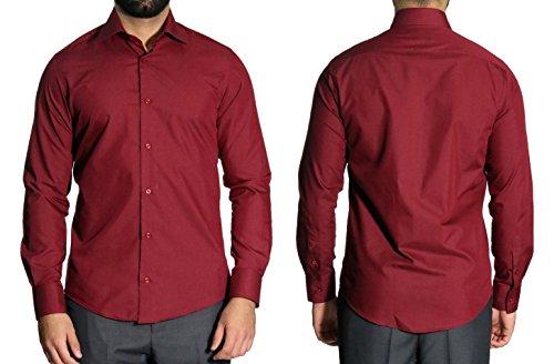 MUGA MMUGA Extra Lang Arm Herren Hemd Slim-Fit Tailliert Bordeaux