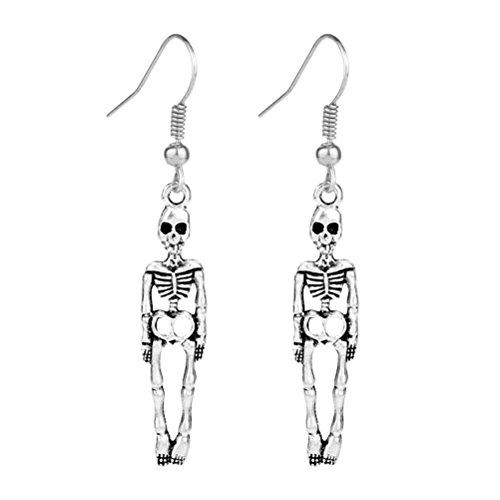 tage Punk Lange Ohrringe Schädel Ohrringe für Halloween Kostüm Zubehör Party Dekoration (Paar Freunden Halloween Kostüme)