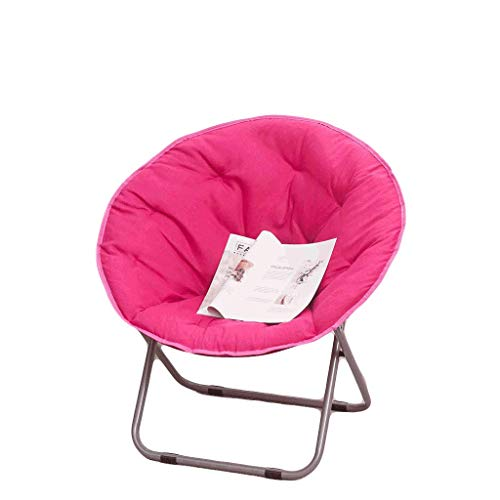 Moon Chair, Lounge Chair, Pliage, Paresseux, Dos, Maison, Balcon, Pause déjeuner, Nap, Bureau, Student, Dortoir, Lounge, Capacité de roulement 100Kg (Color : Pink)