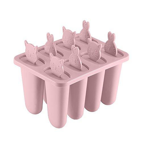 FORNORM 8 Stück Eisformen EIS Am Stiel Formen Silikon, Wassereis Formen Set, EIS Pop Form Stieleisformer für Kinder Niedliche Katze und Kaninchen, Rosa