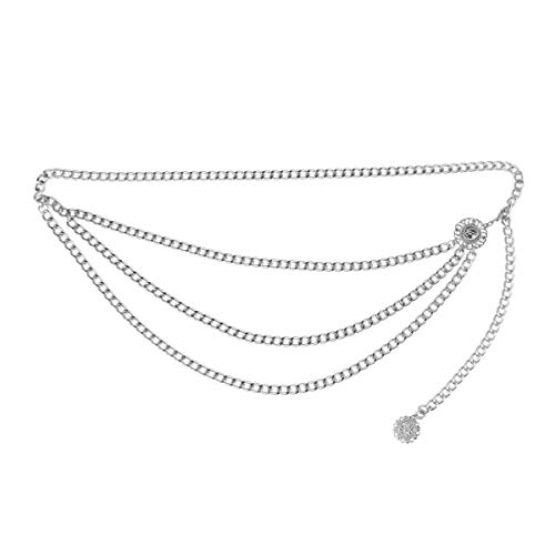 Agoky Damen Vintage Gürtel Metall Taille Kette Gürtel mit Münze Quaste Anhänger Tanzen Fransen Körper Kette modische Accessoires Silber One Size -