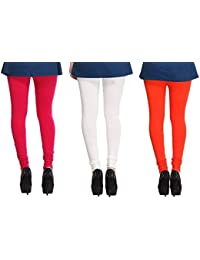 Leggings Free Size Cotton Lycra Churidar Leggings Pack Of 3 Majenda , OffWhite & Orange By SMEXY