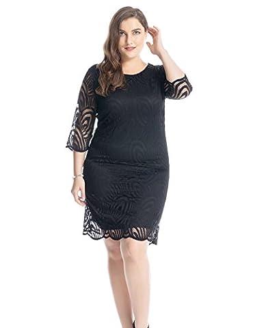 Chicwe Robe Femme Grande Taille Bordée de dentelle de luxe 3/4 à Manches 54, Noir