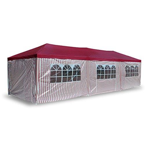 Nexos PE-Pavillon Partyzelt mit 6 Seitenteilen und 2 Eingängen für Garten Terrasse Feier oder Fest als Unterstand Plane 110g/m² wasserdicht 3 x 9 m rot