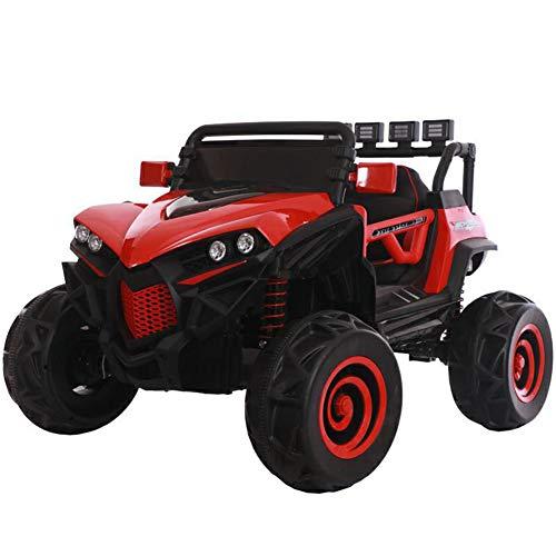 DDCX Kleinkind Kinder Elektroauto mit Vierradantrieb Jungen und Mädchen können ferngesteuert sitzen Zwei-Sitzer-Elektroauto-Kinderwagen mit Vier Rädern steuern,Red*