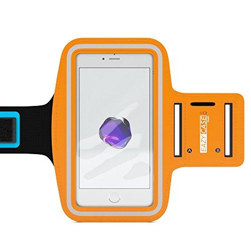 EAZY CASE Sport Armband für Smartphones bis 5,5 Zoll, schweißfest I Sportarmband Unisex, Sporthülle, Handyhülle, Armtasche mit Kopfhöreröffnung & Schlüsselfach, Orange Mp3 Sport Case