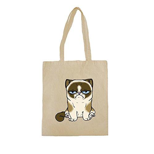 Borse Shopper Cotone con Grumpy Cat stampare. 38cm x 42cm, 10 litri, Natural