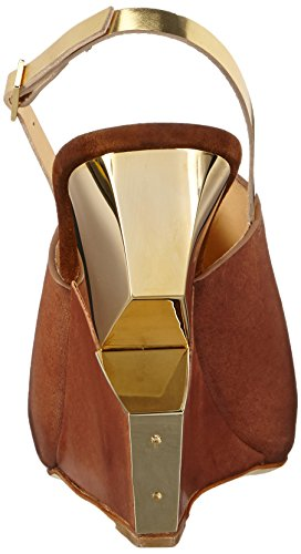 CHARLINE DE LUCA Tamu, Sandales à talon compensé femme Multicolore - Mehrfarbig (Brown/gold)