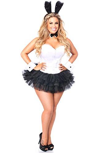 Kostüm Manschetten Black Bunny - Damen Korsett, Korsett mit Gänseblümchen, Korsett - Schwarz - Mittel