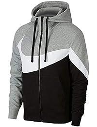 Nike M NSW HBR Hoodie FZ FT STMT Sweatshirt, Hombre, dk Grey Heather/
