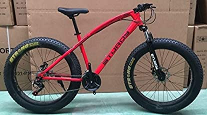 Sturdy Bike Fat Mountain Bike With 26X4 Inch Tyres - (Red)